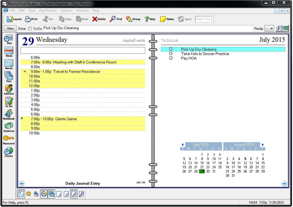 Anytime organizer deluxe 15 individual software for Software planner