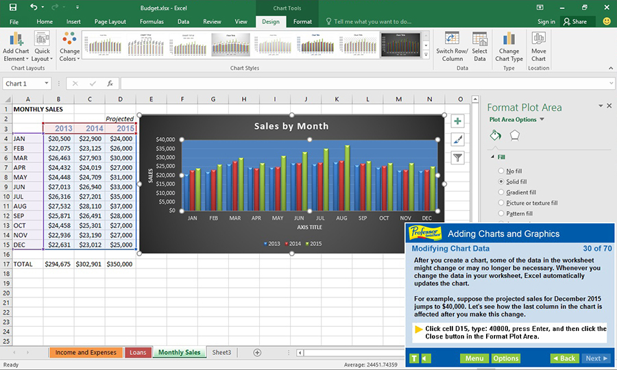 Find out how to add charts and graphics to enhance spreadsheets.