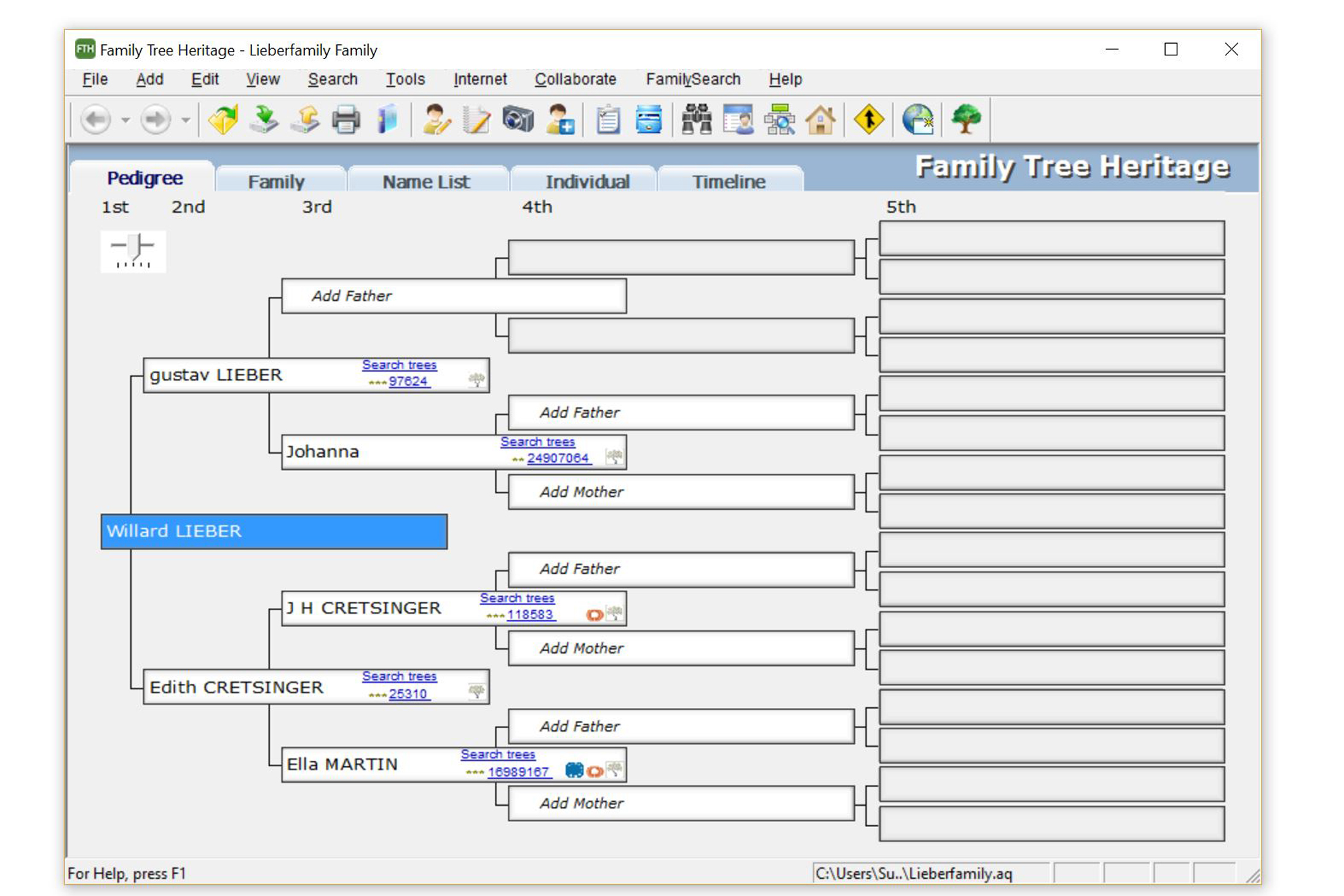 The friendly interface makes searching for ancestors and building your tree easy!