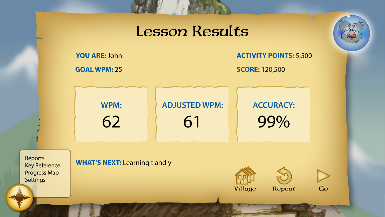 Lesson Results provide instant feedback on words per minute, adjusted words per minute, and accuracy.