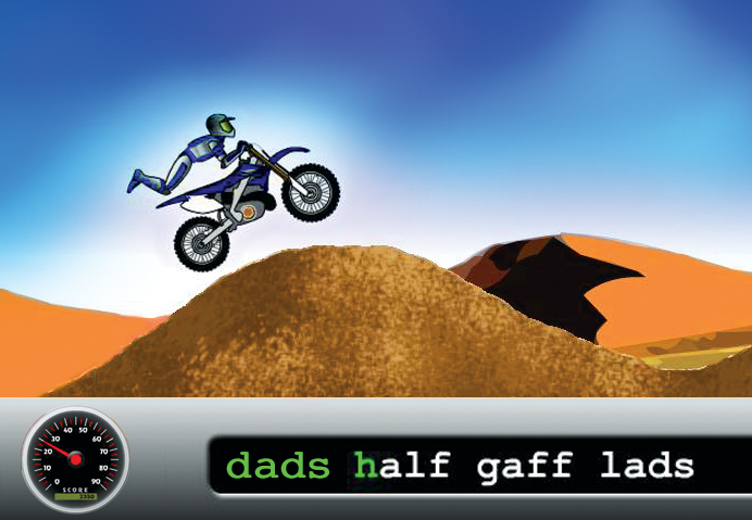 Keep your fingers on the keyboard as you move your motorcycle across the desert.