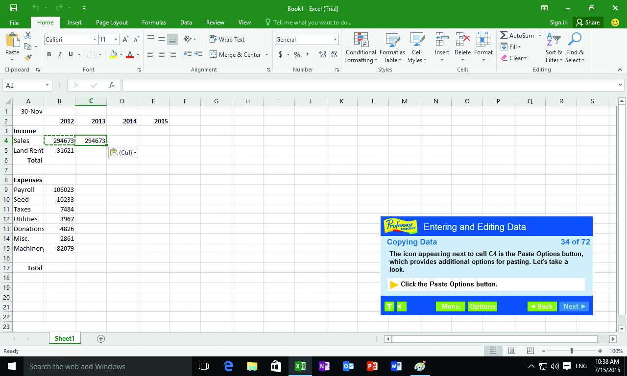 Professor Teaches Excel 2016 will teach you how to enter and edit data.