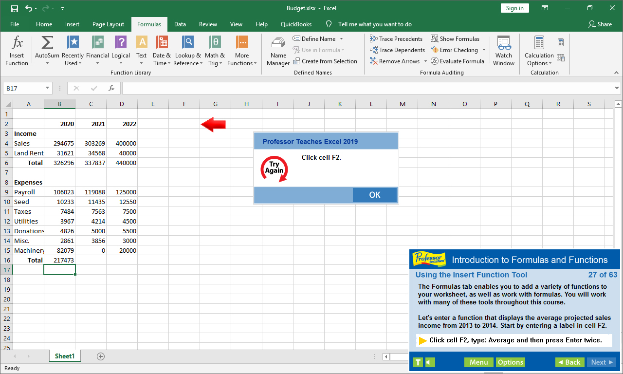 Professor Teaches Excel will teach you how to enter formulas and functions.