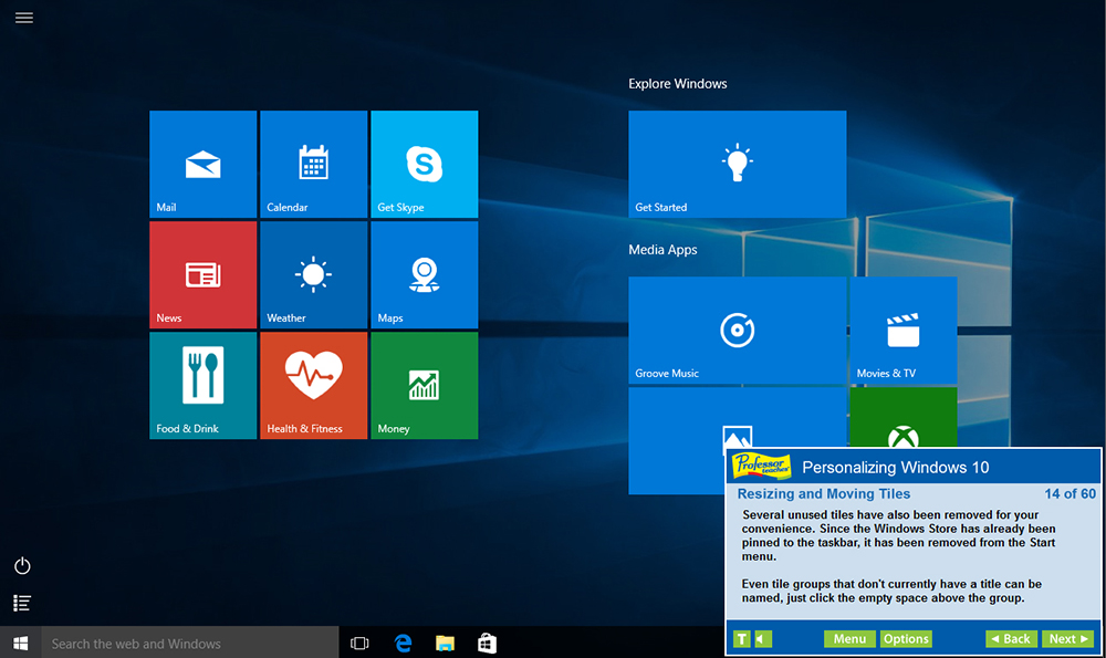 Learn how to personalize Windows 10 by moving and resizing tiles.