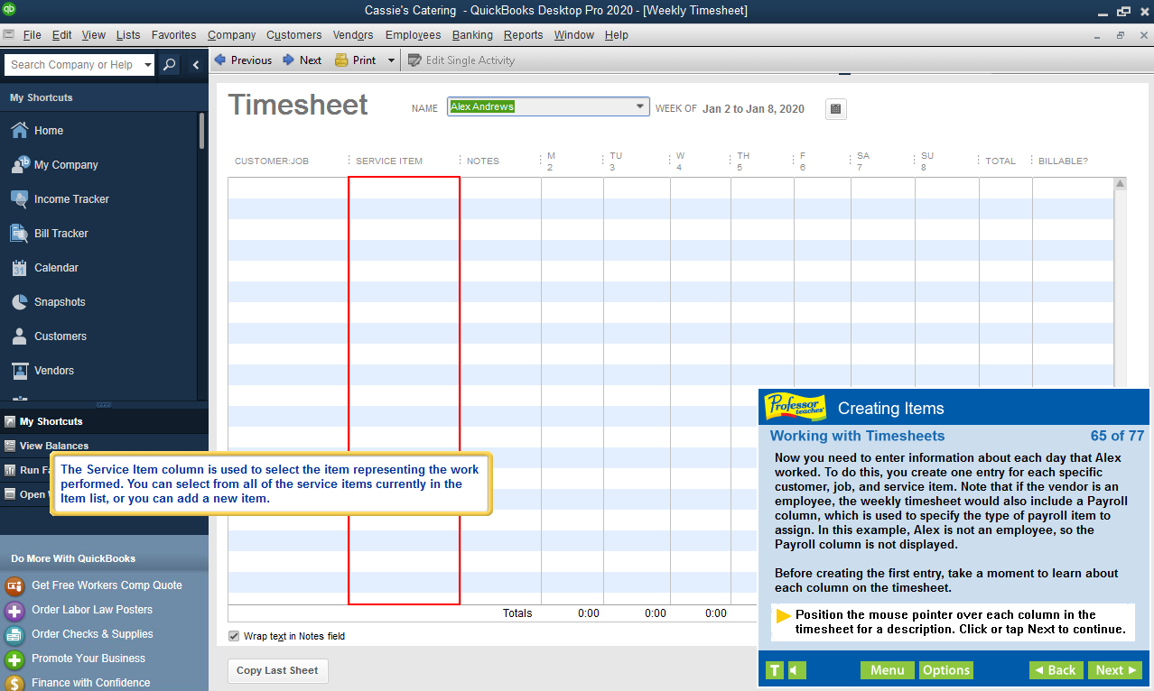 Learn how to work with Timesheets in Professor Teaches training.